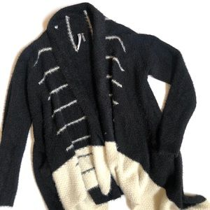 Monoreno fuzzy open front draped cardigan sweater